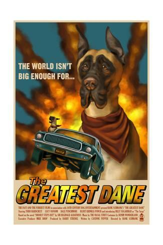Art Print Great Dane Retro Movie Ad By Lantern Press 24x16in