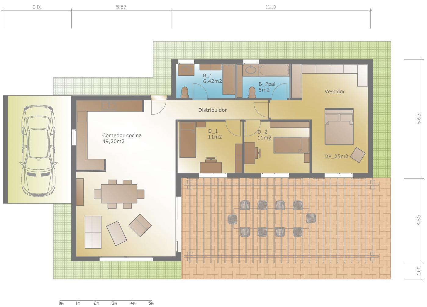 Plano de planta dise o casa rustica moderna construcci n casa aurora pinterest modern - Planos de casas de campo rusticas ...