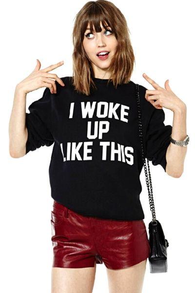 I Woke Up Like This #Black #Sweatshirt - OASAP.com★ 21% off Coupon Code: Pumpkin ❀ Ends on Nov.1st.