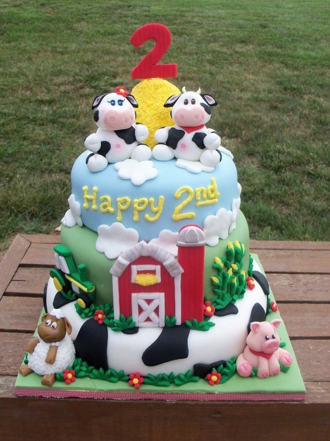 Boys Second Birthday Farm Pic Of The Farm Themed Bday Cake I Just