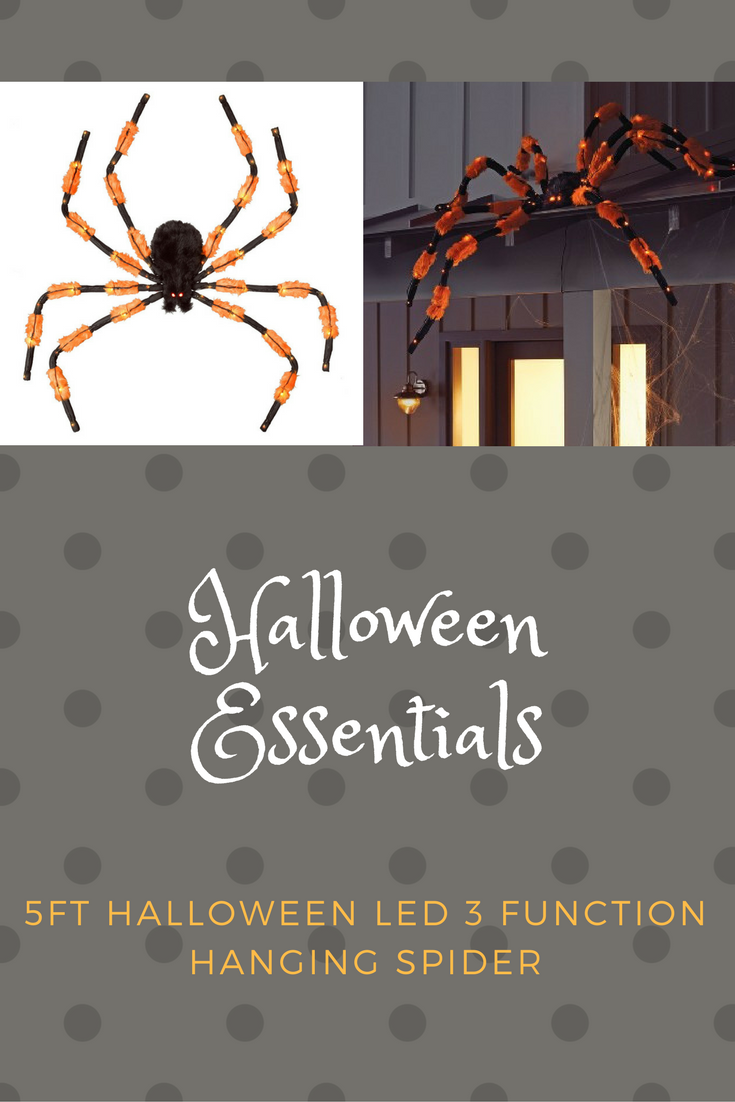 5ft Halloween LED 3 Function Hanging Spider - Orange and Black - Hyde and Eek! Boutique™