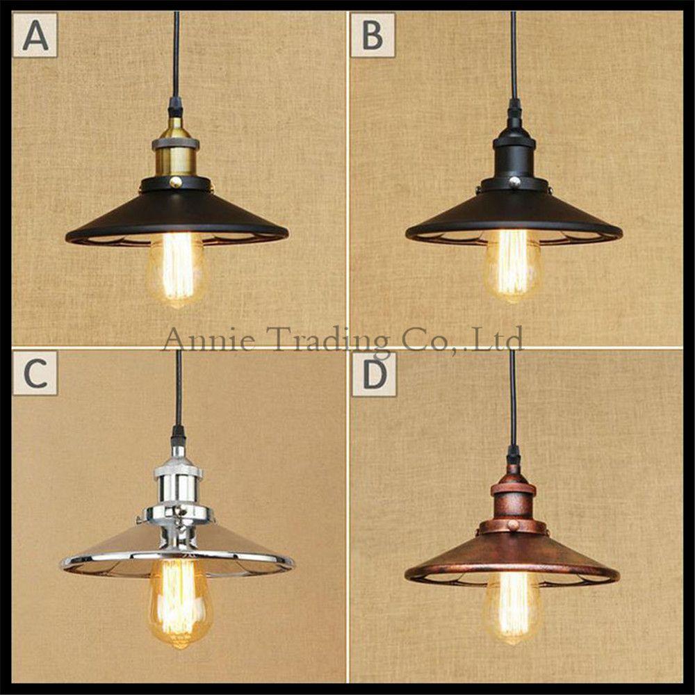 Bronze Black Chrome Pendant Lamp Mirror Shade For Edison Vintage