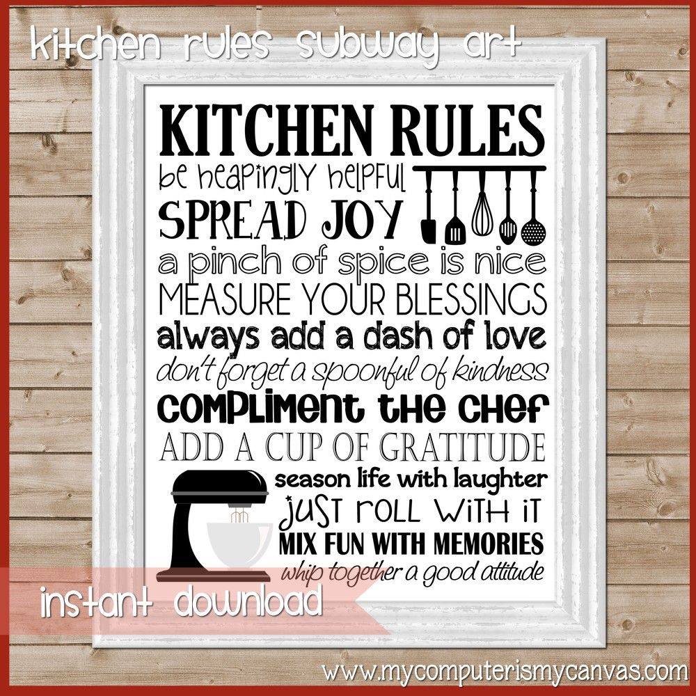 New kitchen rules subway art decor ideas pinterest