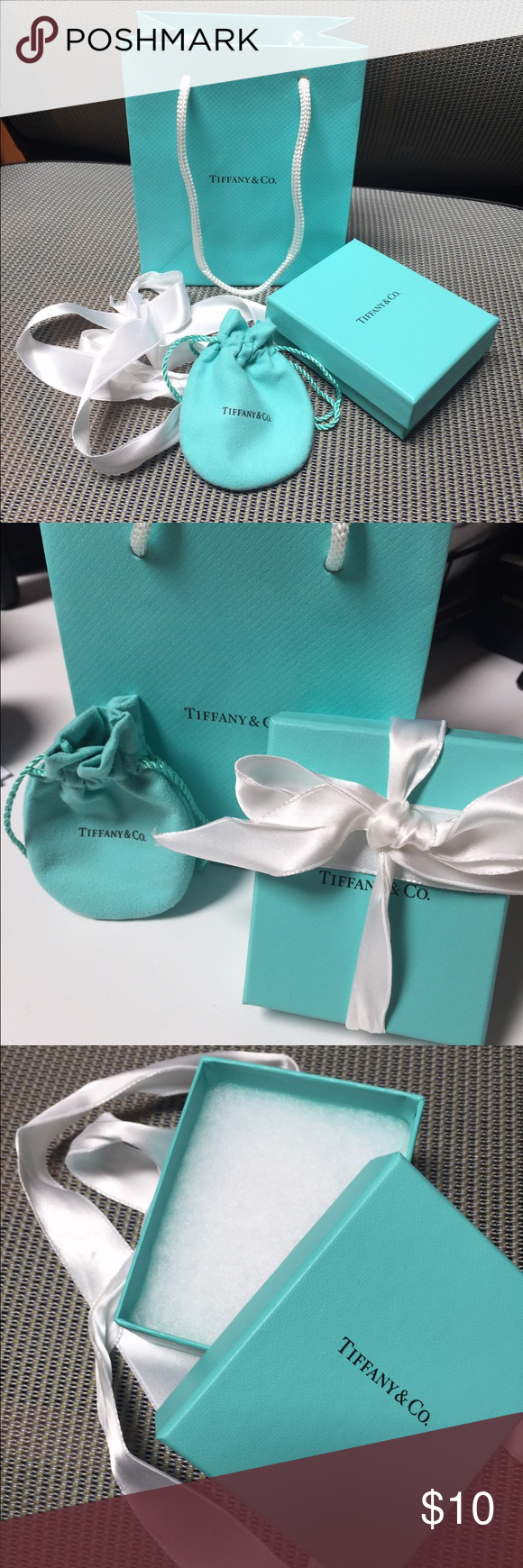 Tiffany Gift Bag and Box Small sized Tiffany gift bag, box, jewelry bag and white ribbon. All you need to make that Tiffany gift extra special. All original. Tiffany & Co. Bags