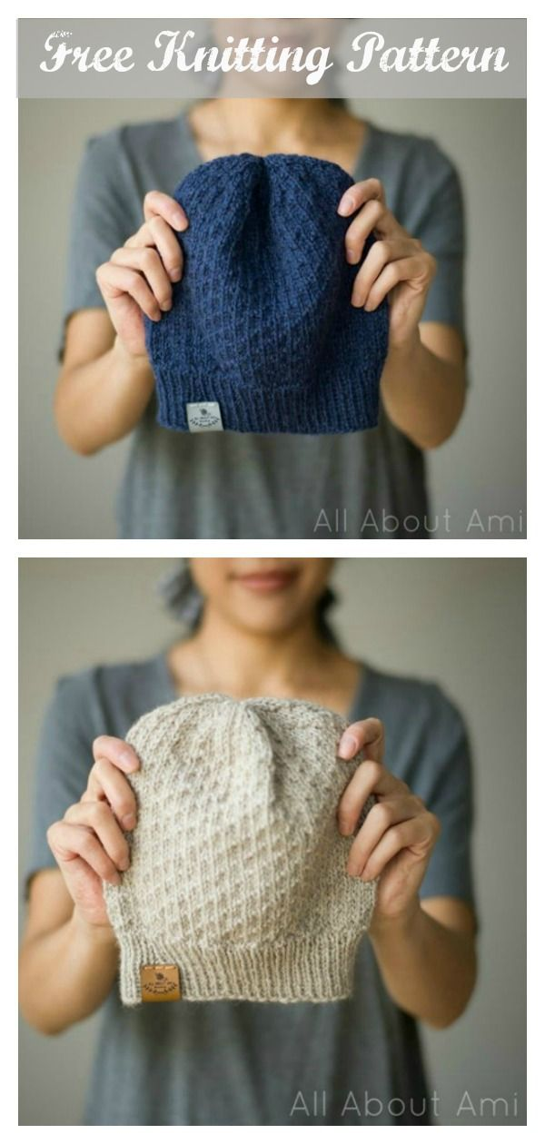 Dot Stitch Beanie Hat Free Knitting Pattern #freeknittingpatterns