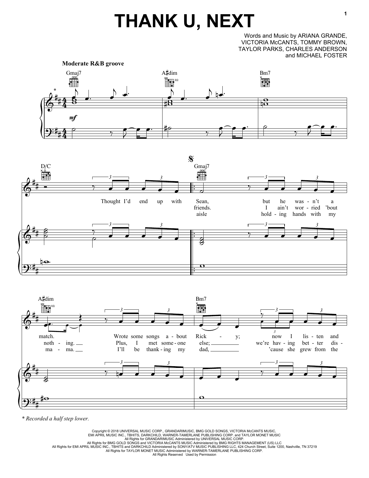Ariana Grande Thank U Next Sheet Music Notes Amp Chords