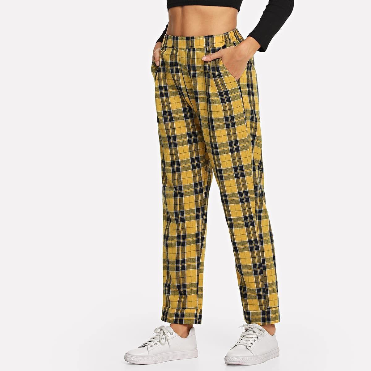 13 00 Pantalones De Cuadros Pantalones Ofertas Modamujer Shein Fashion Women Pants Casual Womens Dress Pants Plaid Pants