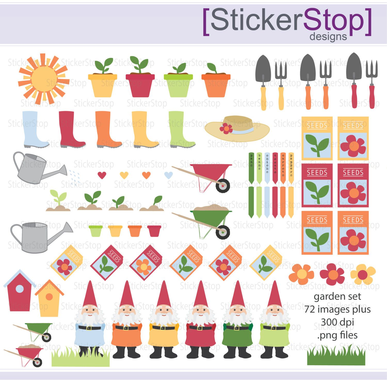 Gardening Garden Digital Clipart Set - Instant download PNG files by StickerStop on Etsy
