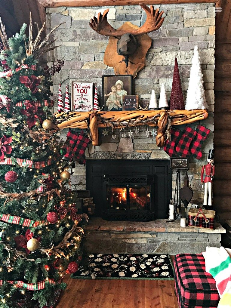 Home White Arrows Home Cabin Christmas Decor Cabin Christmas Christmas Fireplace Decor