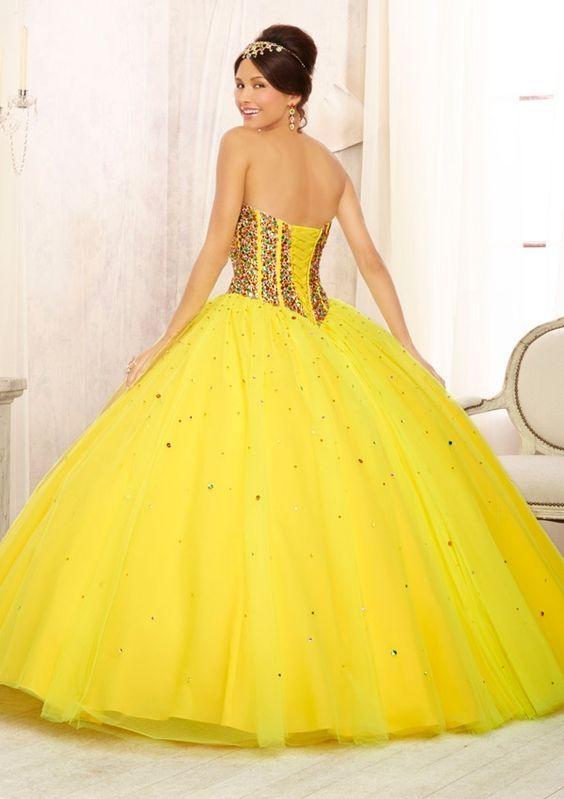 d2b21af55 Ideas de vestido para quince años color amarillo | Diseño XV ...