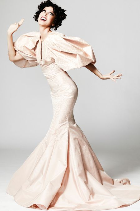 Zac Posen # dramatic gown in peach color
