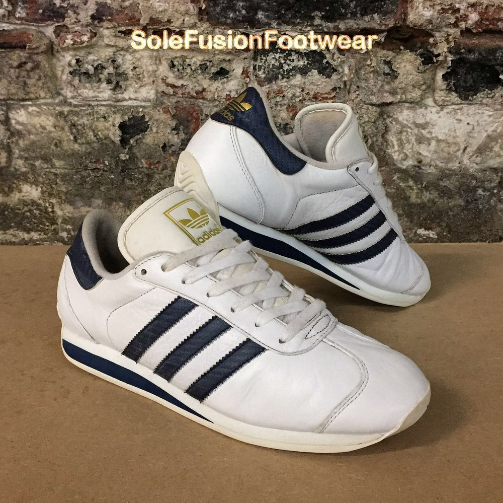 adidas Mens Country Trainers White/Blue sz 10 Vintage 2001 Sneakers US 10.5  44.6