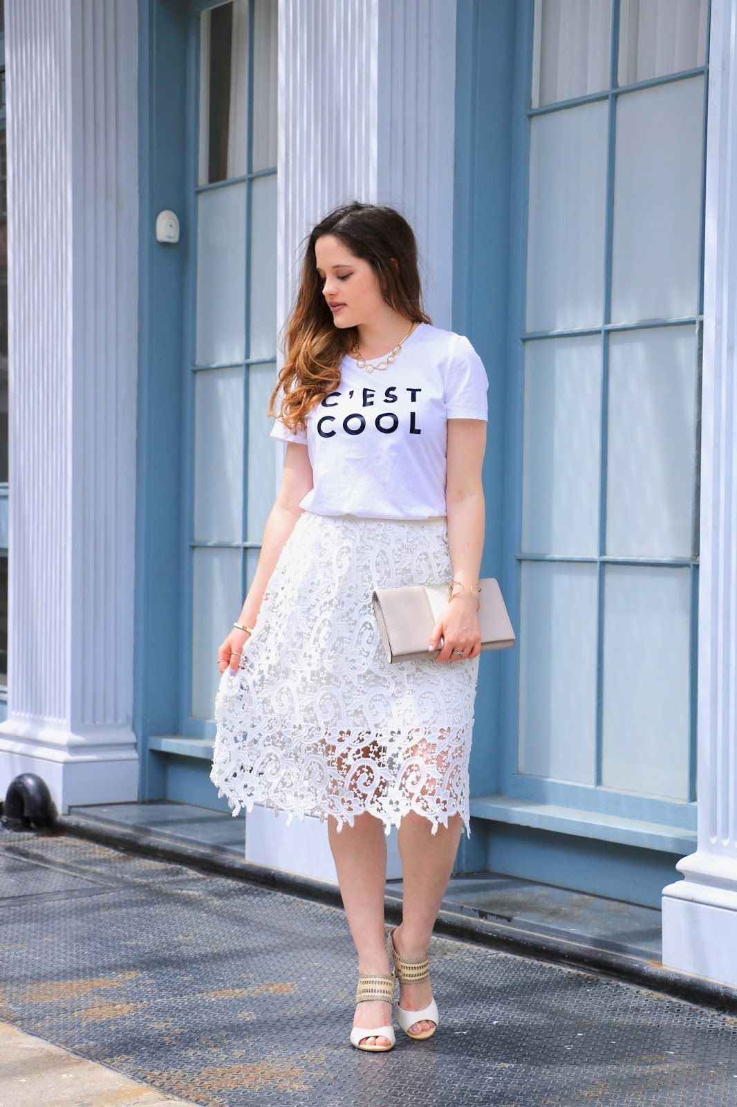 4b7eac6f5944 Graphic tee and lace pencil skirt. All white outfit. | Kats Fashion ...