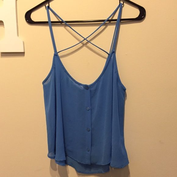 Lush Crop Top Tank Blue Lush crop top tank top with criss cross straps in the back. Worn once, in brand new condition. Lush Tops Tank Tops