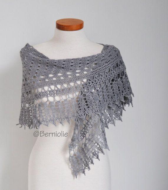 Crochet lace shawl, scarf, lace, grey, wool, P434 | Chal, Gris y Encaje