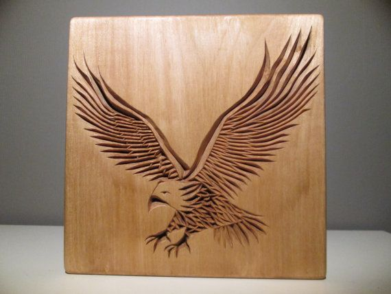 Eagle carved chip carving wood wooden by