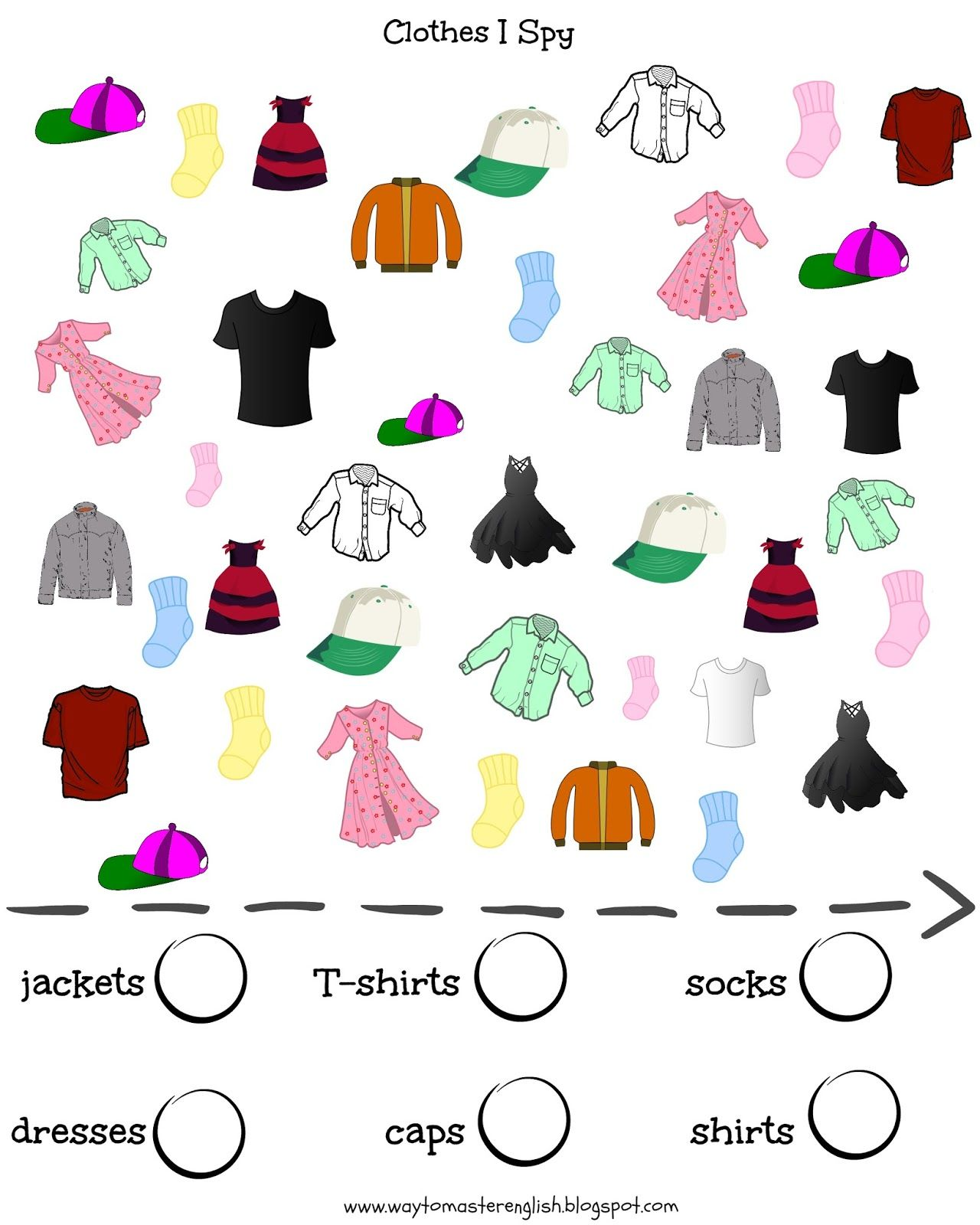 vocabulary, clothes, I spy, kids, young learners