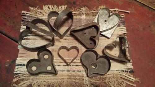 8 Early Folk Art Heart Cookie Cutters AAFA | eBay