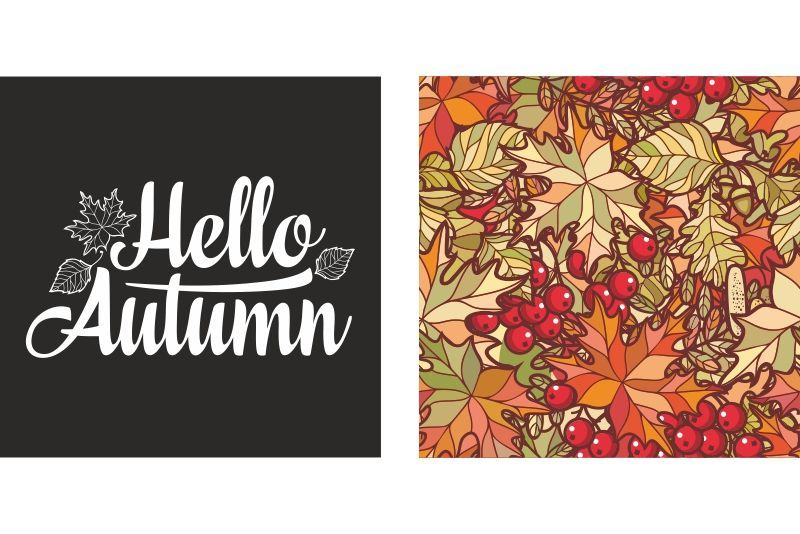 Hello Autumn lettering phrase text #helloautumn Hello Autumn lettering phrase text. Autumn leaves seamless pattern with Rowan, maple, birch and oak. Fall leaf design. Foliage forest... #helloautumn