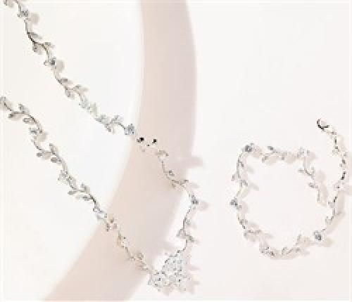 Cubic Zirconia Clusters with Vine Wedding Necklace