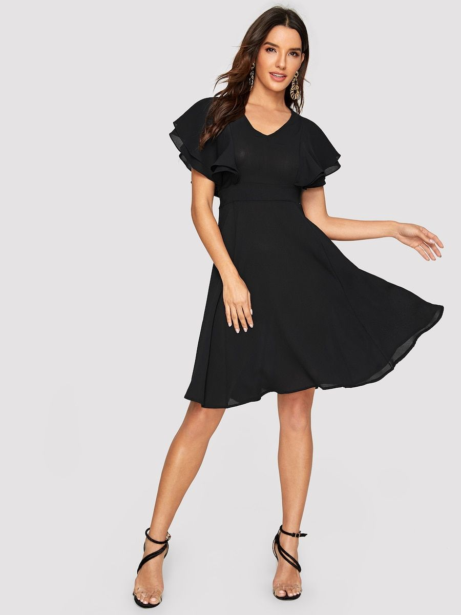 Layered Butterfly Sleeve Fit & Flare Dress SHEIN