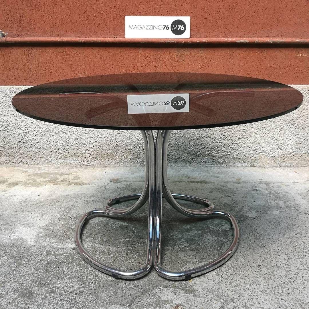 Tavolo Cristallo Anni 70.Tavolo Da Pranzo In Cristallo Nero Con Zampa In Acciaio
