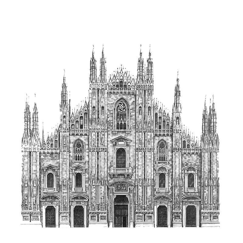 Architectural Street And Building Drawings Milan Cathedral Architecture Drawing Sketchbooks Architecture Drawing