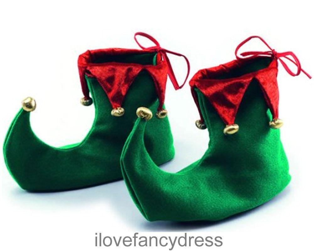 Elf shoes christmas fancy dress jester boots santa\'s helper costume ...