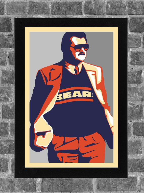 Chicago Bears Wall Art chicago bears mike ditka portrait sports print art 11x17 | chicago