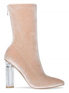 7d8b26e651d1 Amina Nude Velvet Clear Heel Ankle Boots