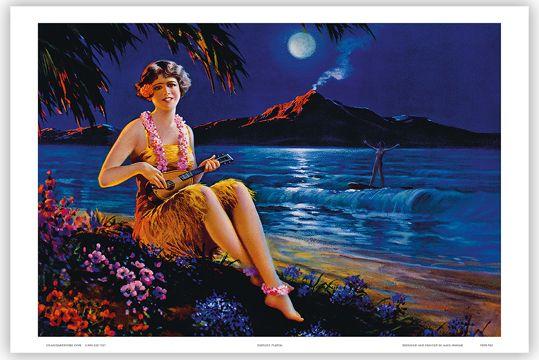 Image detail for -HAWAIIAN Vintage Art Poster HAWAII Ukulele Hula Dancer | eBay