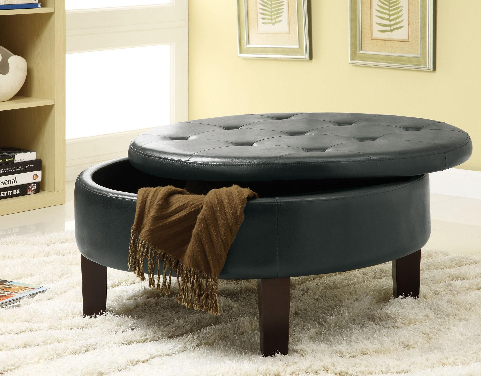 Round Ottoman Serves As A Seat As Well As A Wood Pellet Storage Place Round Storage Ottoman Leather Storage Ottoman Storage Ottoman [ 1515 x 1935 Pixel ]