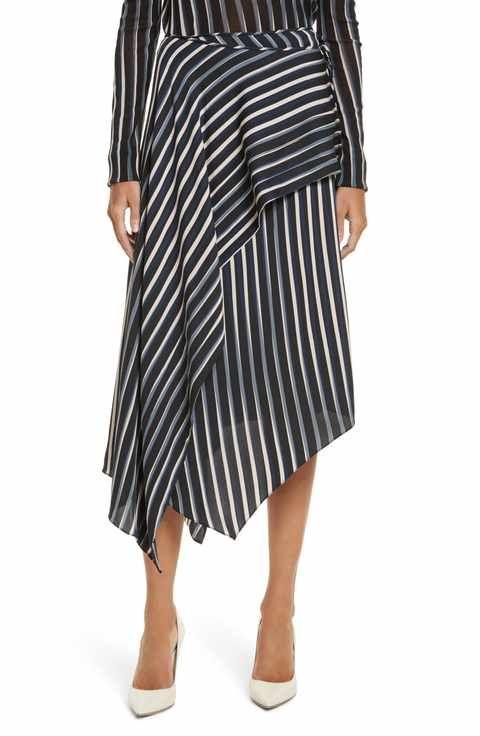 Diane von Furstenberg Striped Asymmetrical Midi Skirt