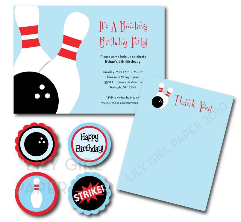 Bowling Birthday Party Set Printable Bowling Birthday Party