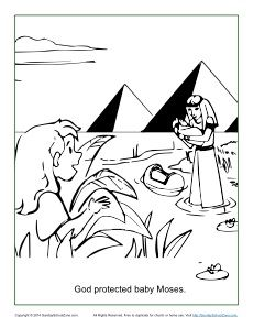 God Protected Baby Moses Coloring Page Baby Moses Bible
