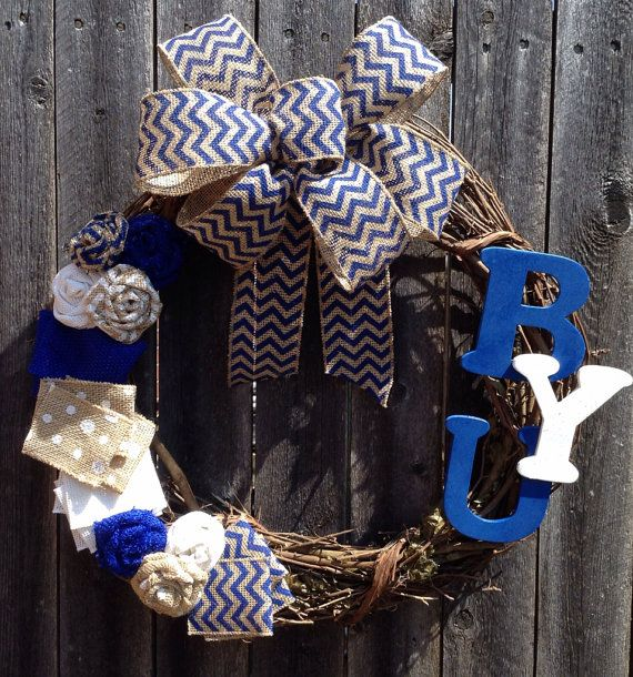 BYU Chevron Burlap College Football Team Wreath. Maybe instead of a team I could put my room mate's & I's names? :)