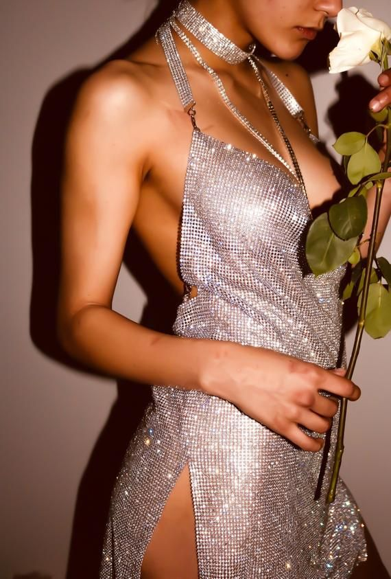 XS Silver Rhinestone Mesh Cocktail Dress Perfect for New Year's Eve #backlesscocktaildress