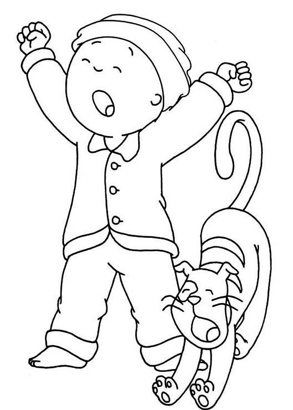 Caillou Caillou And His Cat Gilbert Yawning Coloring Page Caillou Coloring Pages Coloring Pictures