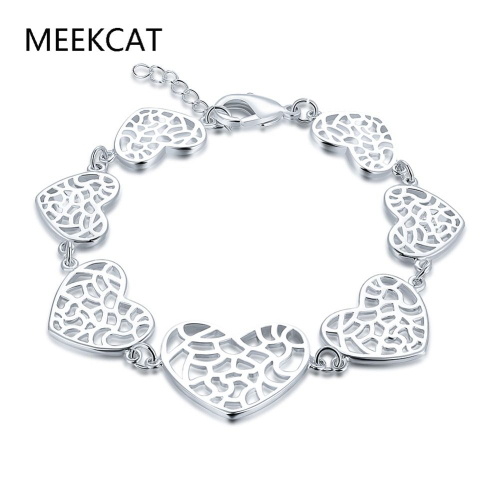 Heart flower bracelet charm pcs stamped silver plated cute hot