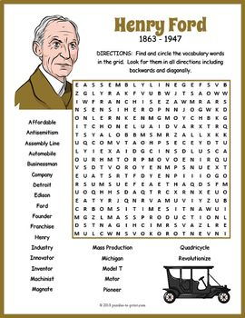 Henry Ford Activity - Henry Ford Word Search in 2018 | All Things ...