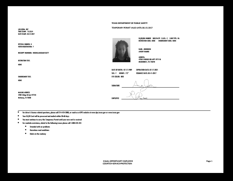 Texas Driver S Permit Temporary Documents Store Passport Template Drivers Permit Id Card Template