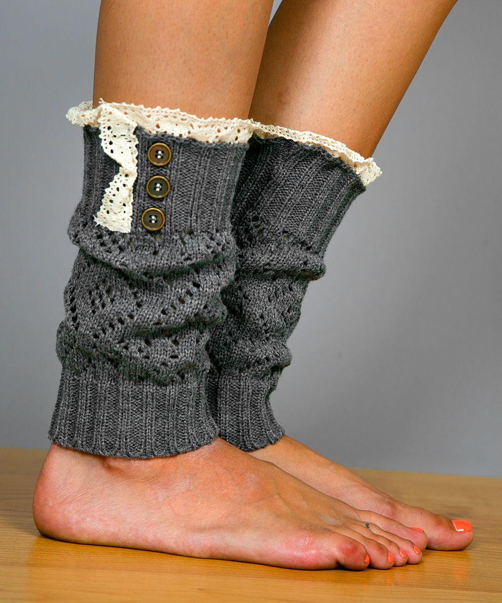 White Plum Gray Lace & Button Boot Cuffs | zulily