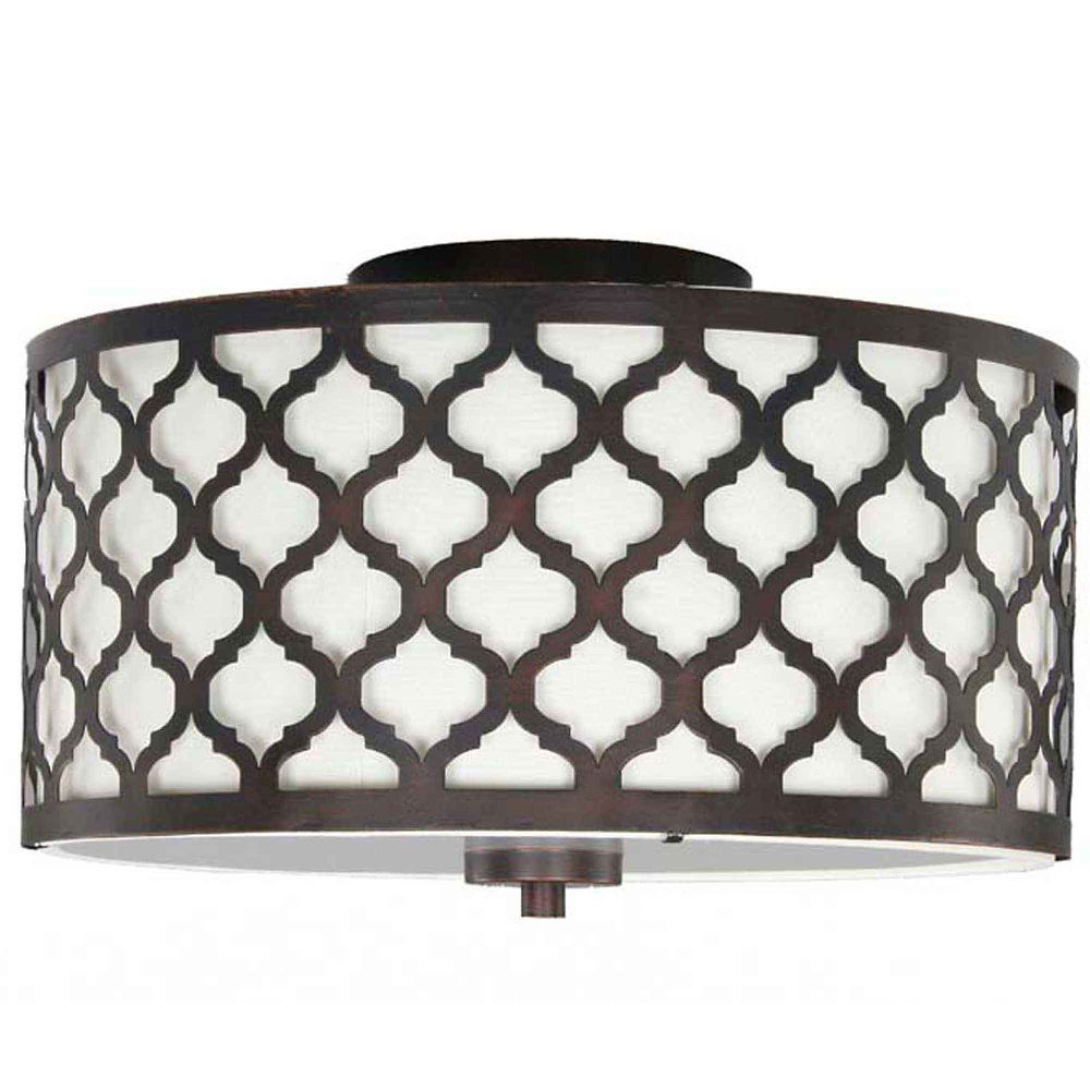 Bathroom Light Fixtures With Fabric Shades edgemoor 2 light flush mount ceiling light 13.25 inch - oil rubbed