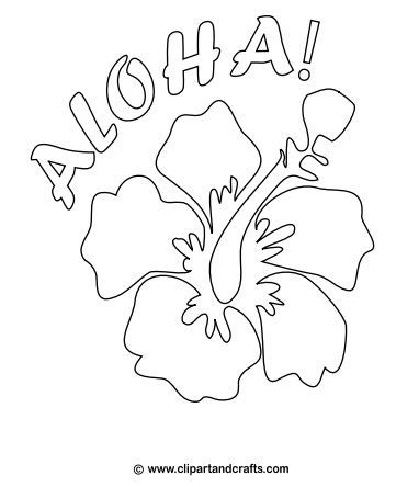 Aloha Poster With Hibiscus Flower Coloring Page Hawaiian