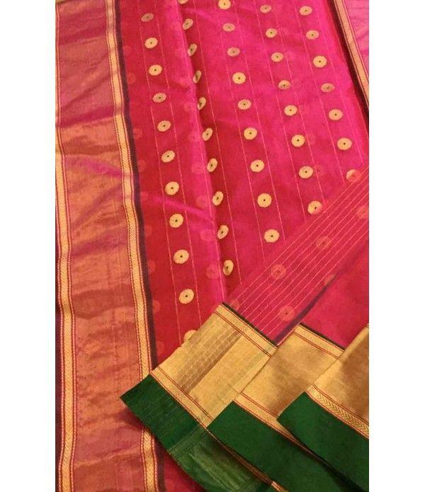 Pink Pure Handloom Chanderi Silk Saree