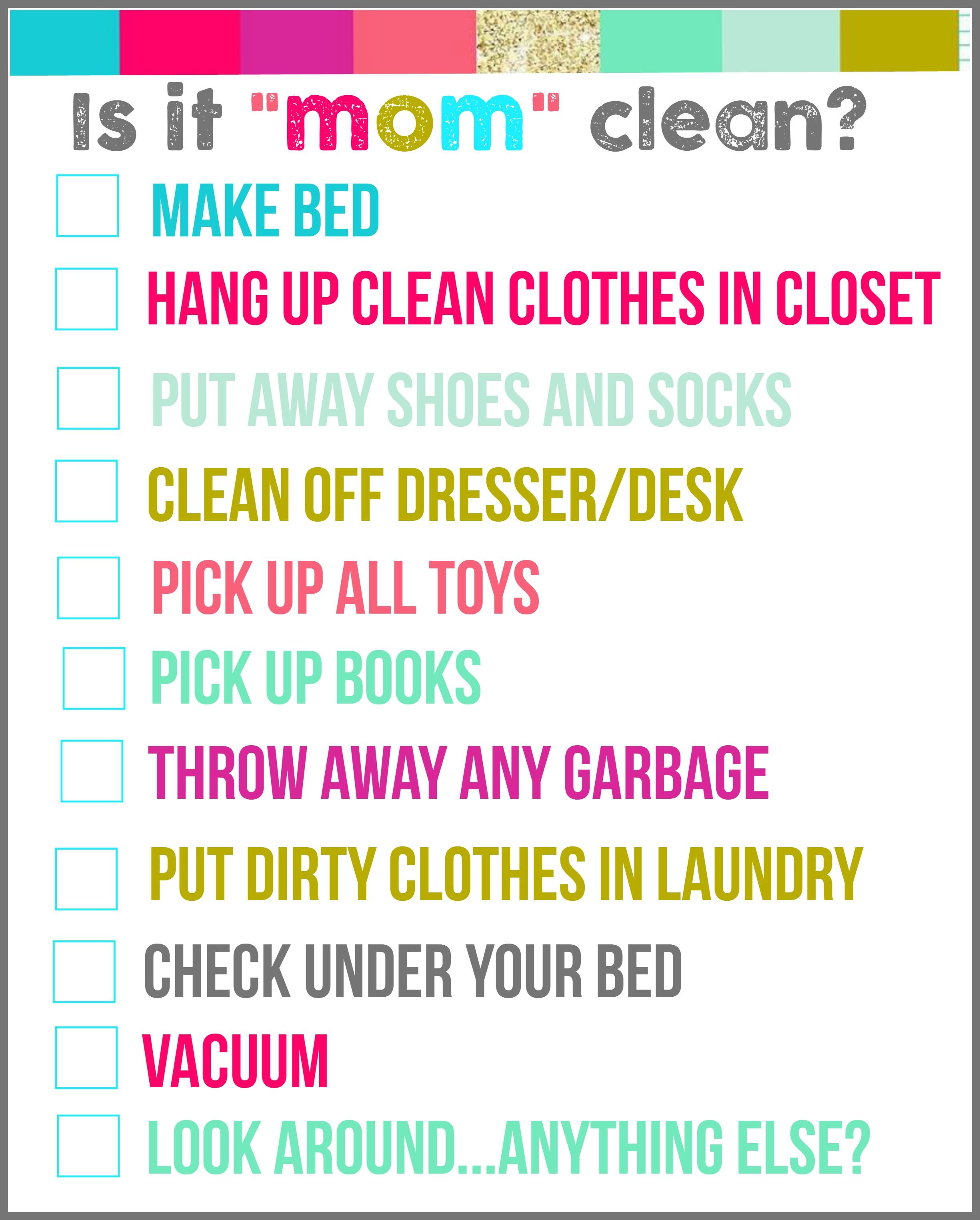 Is It Mom Clean Droom Checklist Printables