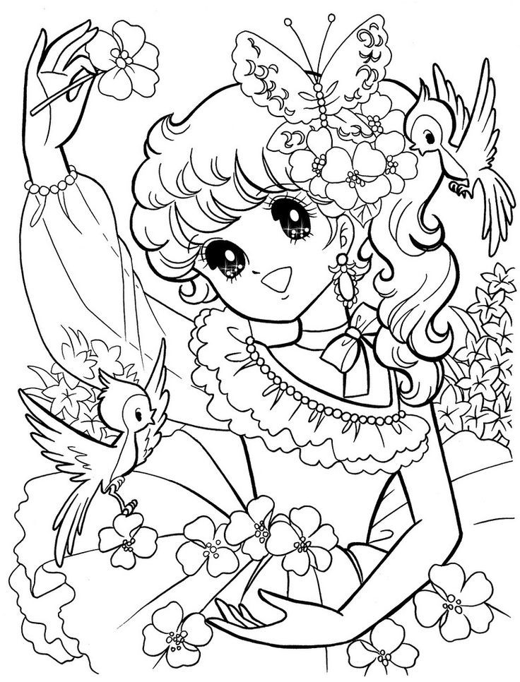 flower girl shojo nurie coloring pages - Flower Girl Coloring Book