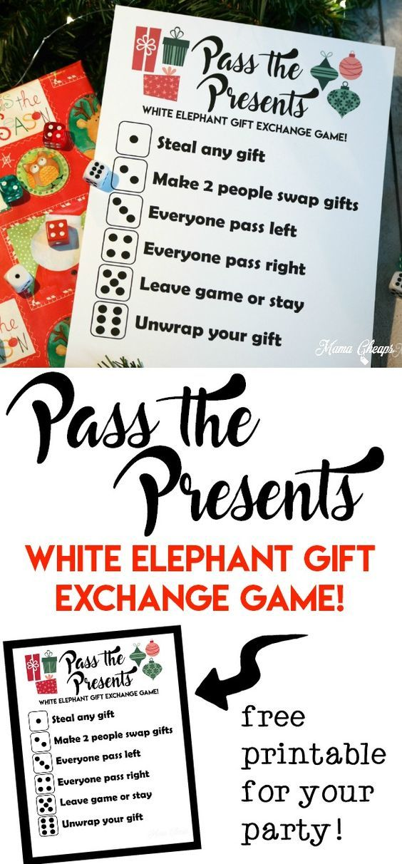 Pass the presents white elephant gift exchange game free printable negle Gallery
