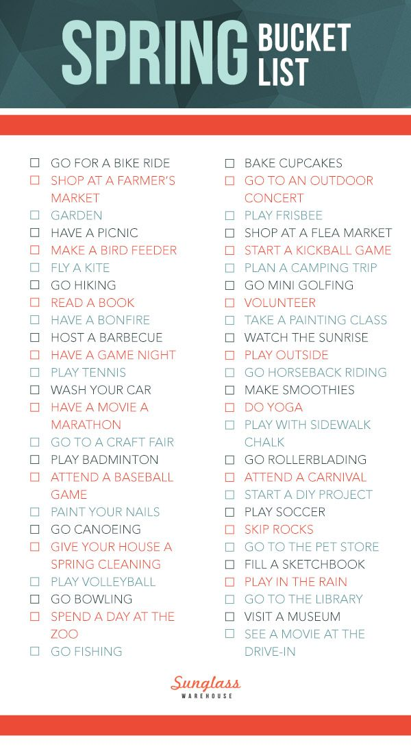 50 Things To Do This Spring Self Love For Women Summer Bucket