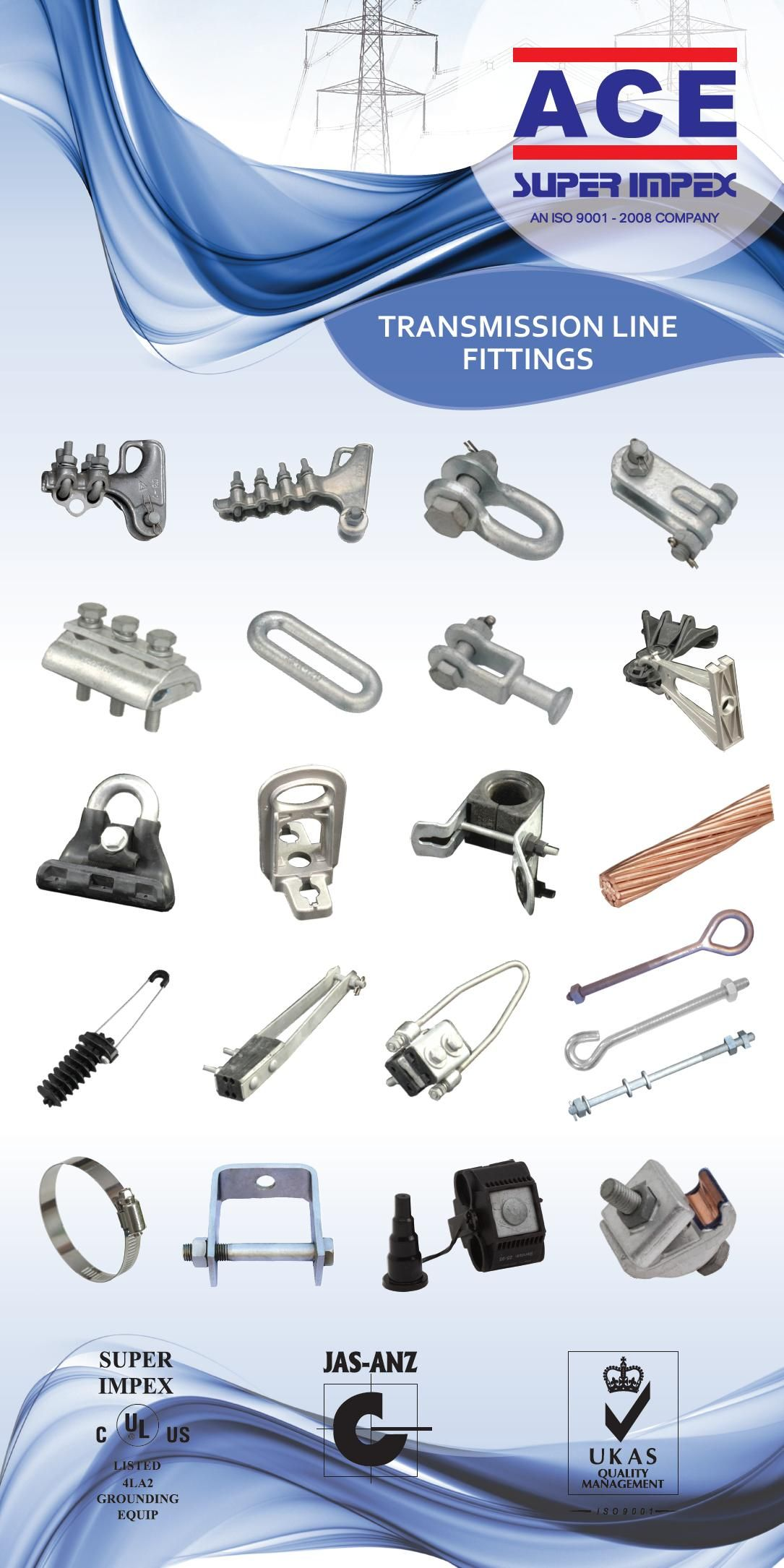 Transmission Line Fittings Metal Brass Copper Export Ul Iso Manufacturing Electric Conductor Clamps Ubolt Circular S Fittings Conductors Metal